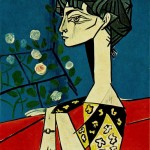 Naked under a pine tree Portrait of Jacqueline Roque with roses-Pablo-Picasso-1954