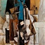 Violín en el café -Violín, copa, botella-Pablo-Picasso-1913