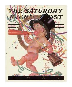New Years Baby 1937 - Saturday Evening Post-J.C. Leyendecker