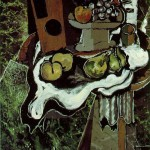 Fruit-on-a-Tablecloth-with-a-Fruitdish-Georges-Braque-1925