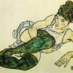 Reclining-Woman-With-Green-Stockings---Egon-Schiele---1917