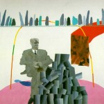 Portrait-Surrounded-by-Artistic-Devices---David-Hockney-1965