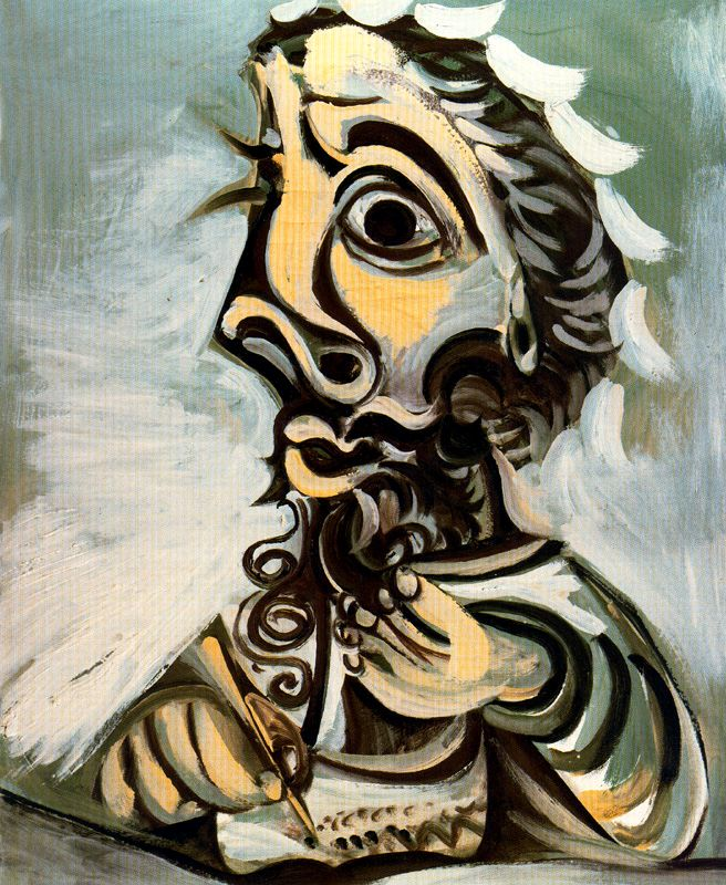 pablo picasso cubism daily art fixx pablo picasso bust of man writing 1971